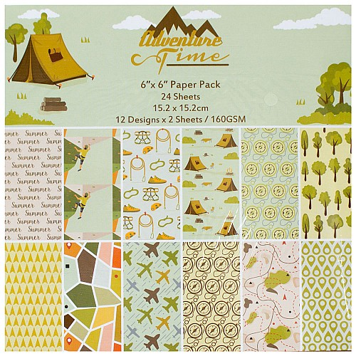 """6"""" by 6"""" Scrapbook paper pack - Adventure Time (Set of 24 sheets)"""