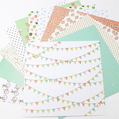Birthday Party Scrapbook Paper (Pack of 24 sheets) - 12 by 12 inch