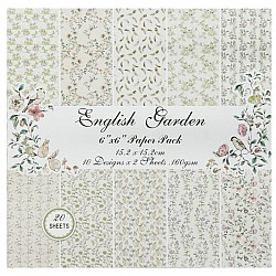 English Garden Scrapbook Paper (Pack of 20 sheets) - 6 by 6 inch
