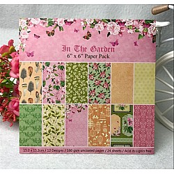 In the Garden Scrapbook Paper (Pack of 24 sheets) - 6 by 6 inch