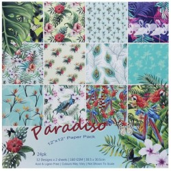 12x12 Scrapbook paper pack - Paradiso (Set of 24 sheets)