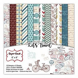 Lets Travel Scrapbook Paper (Pack of 24 sheets) - 12 by 12 inch