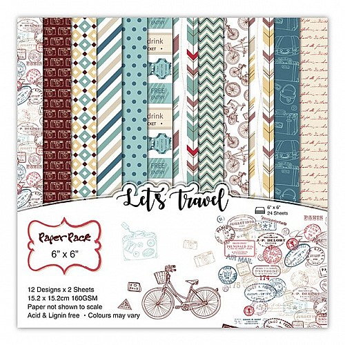 Lets Travel Scrapbook Paper (Pack of 24 sheets) - 6 by 6 inch