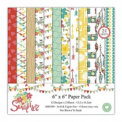 Summer Scrapbook Paper (Pack of 24 sheets) - 6 by 6 inch