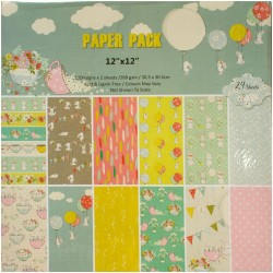 Scrapbook paper pack - Pastel Cuties (Set of 24 sheets)