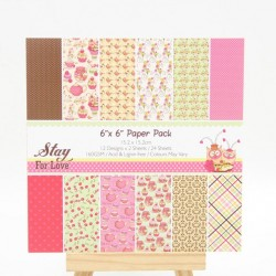 Stay for Love Scrapbook Paper (Pack of 24 sheets) - 6 by 6 inch
