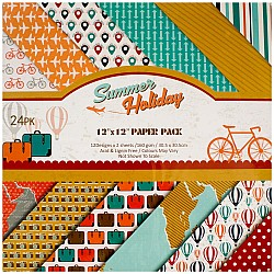 Scrapbook 12 by 12 inch paper pack - Summer Holiday (Set of 24 sheets)