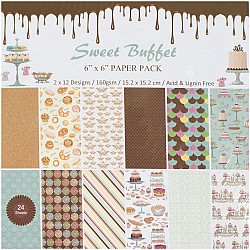"6"" by 6"" Scrapbook paper pack - Sweet Buffet (Set of 24 sheets)"