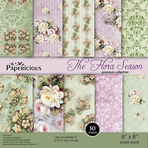 Papericious Premium Collection - The Flora Season (8 by 8 patterned paper)