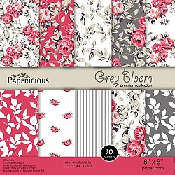 Papericious Premium Collection - Grey Bloom (8 by 8 patterned paper)