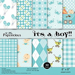 Papericious - Its a Boy (8 by 8 patterned paper)