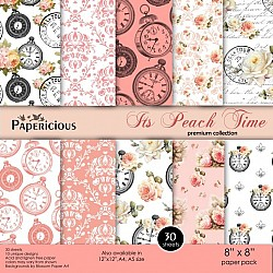 Papericious Premium Collection - Its Peach TIme (8 by 8 patterned paper)