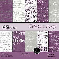 Papericious Designer Collection - Violet Script (8 by 8 patterned paper)