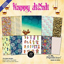 Papericious  Designer Collection - Happy Diwali (6 by 6 patterned paper)