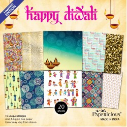 Papericious  Designer Collection - Happy Diwali (12 by 12 patterned paper)