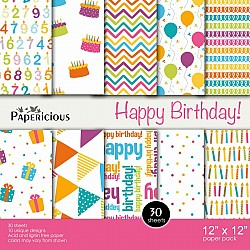Papericious  Designer Collection - Happy Birthday (12 by 12 patterned paper)