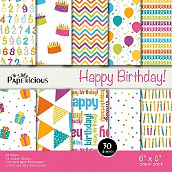 Papericious  Designer Collection - Happy Birthday (6 by 6 patterned paper)