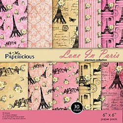 Papericious Premium Collection - Love in Paris (6 by 6 patterned paper)