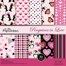 Papericious - Penguines in Love (6 by 6 paper)