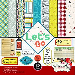 Papericious  Designer Collection - Lets Go (12 by 12 patterned paper)