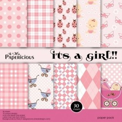 Papericious - Its a Girl (6 by 6 patterned paper)