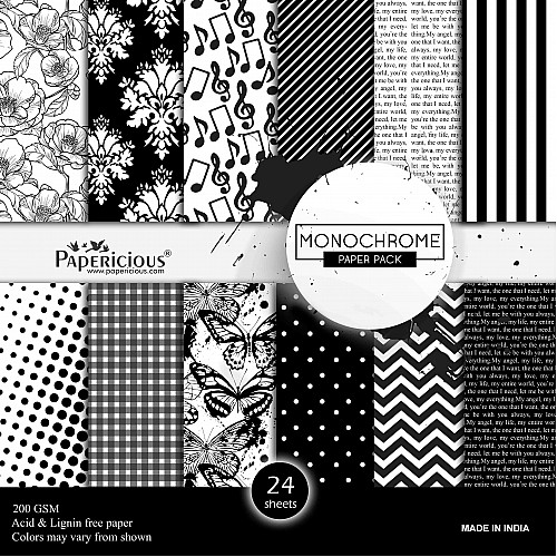 Papericious  Designer Collection - Monochrome (12 by 12 patterned paper)