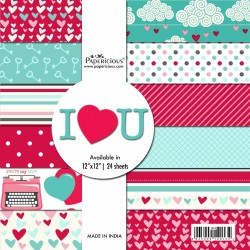 Papericious  Designer Collection - I Love you (12 by 12 patterned paper)