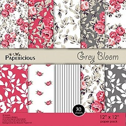 Papericious (Premium Collection) - Grey Bloom (12 by 12 paper)