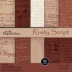Papericious - Rusty Script (12 by 12 paper)