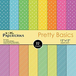 Papericious  Designer Collection - Pretty Basics (12 by 12 patterned paper)