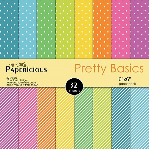 Papericious  Designer Collection - Pretty Basics (6 by 6 patterned paper)