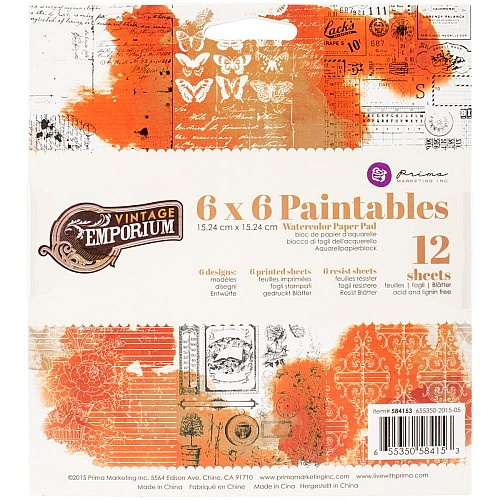 Prima - 6x6 Paintables Paperpack  (12 sheets)