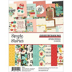 """Simple Stories Double-Sided Paper Pad - Apron Strings Recipe Book Paper (6""""X8"""" 24/Pkg)"""