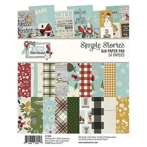 Simple Stories Double-Sided Paper Pad - Winter Farmhouse (6X8 24/Pkg)