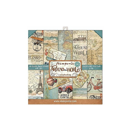 """Stamperia Double-Sided Paper Pad 8""""X8"""" 10/Pkg - Around the World"""