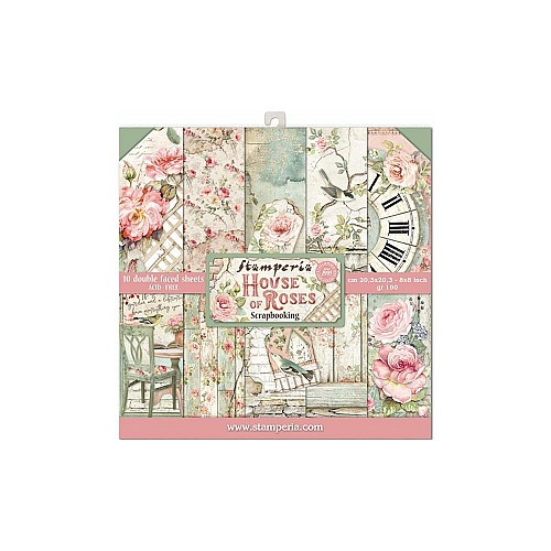 """Stamperia Double-Sided Paper Pad 8""""X8"""" 10/Pkg - House of Roses"""