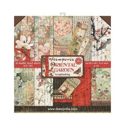 "Stamperia Double-Sided Paper Pad 8""X8"" 10/Pkg - Oriental Garden"