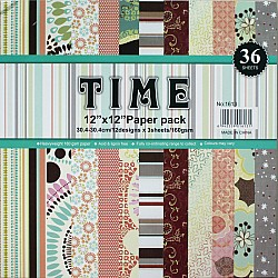 12 by 12 TIME Patterned Paper Pack - Design 3 (Set of 36 sheets)