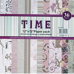12 by 12 TIME Patterned Paper Pack - Design 4 (Set of 36 sheets)