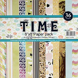 8 by 8 TIME Patterned Paper Pack - Design 1 (Set of 36 sheets)