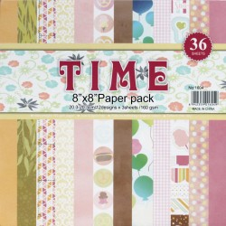 8 by 8 TIME Patterned Paper Pack - Design 2 (Set of 36 sheets)