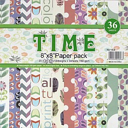 8 by 8 TIME Patterned Paper Pack - Design 4 (Set of 36 sheets)