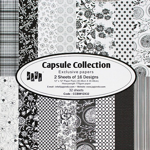 12 by 12 Paper Pack - Capsule Collection - Black  (Set of 32 sheets)