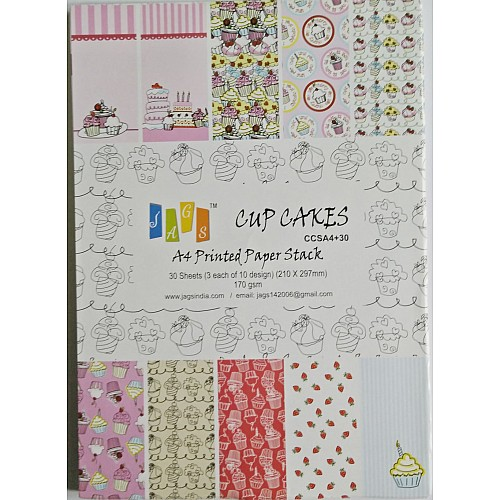 A4 Paper Pack - Cupcakes (Set of 30 sheets)