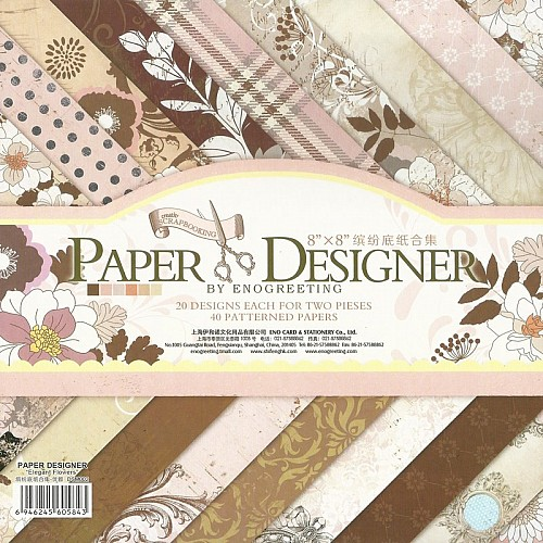 8x8 EnoGreeting Scrapbook paper pack - Elegant Flowers (Set of 40 sheets)