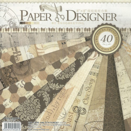 8x8 EnoGreeting Scrapbook paper pack - Retro Style (Set of 40 sheets)