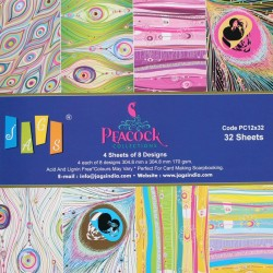 12 by 12 Paper Pack - Peacock Collection (Set of 32 sheets)