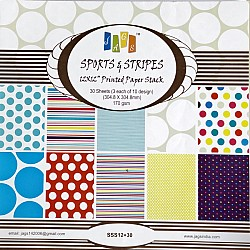 12x12 Paper Pack - Sports and Stripes (Set of 30 sheets)