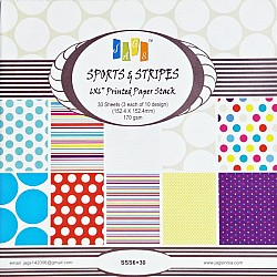 6x6 Paper Pack - Sports and Stripes (Set of 30 sheets)