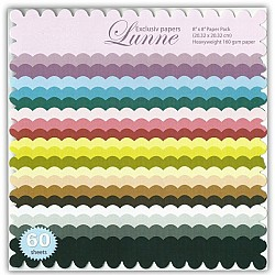 Assorted Scalloped Edge 8x8 Paper Pack - Exclusiv (60 Sheets)